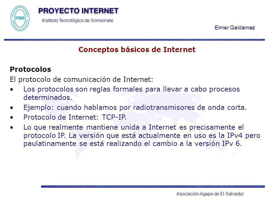 Instituto Tecnológico de Sonsonate Elmer Galdámez Asociación Agape de El Salvador Conceptos básicos de Internet Protocolos El protocolo de comunicació
