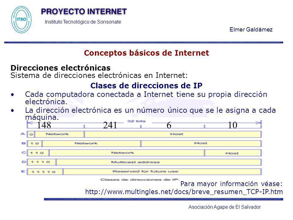 Instituto Tecnológico de Sonsonate Elmer Galdámez Asociación Agape de El Salvador Conceptos básicos de Internet Direcciones electrónicas Sistema de di