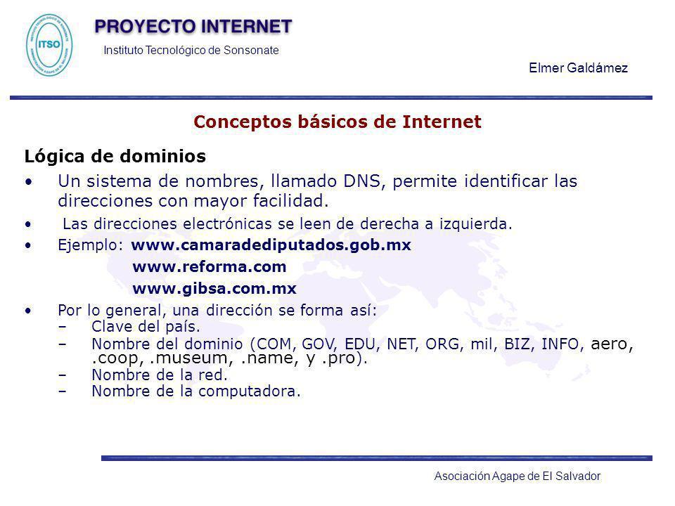 Instituto Tecnológico de Sonsonate Elmer Galdámez Asociación Agape de El Salvador Conceptos básicos de Internet Lógica de dominios Un sistema de nombr