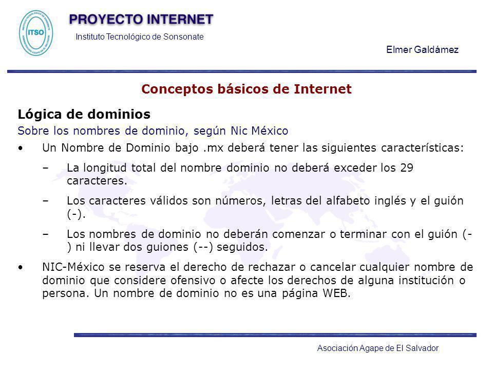 Instituto Tecnológico de Sonsonate Elmer Galdámez Asociación Agape de El Salvador Conceptos básicos de Internet Lógica de dominios Sobre los nombres d