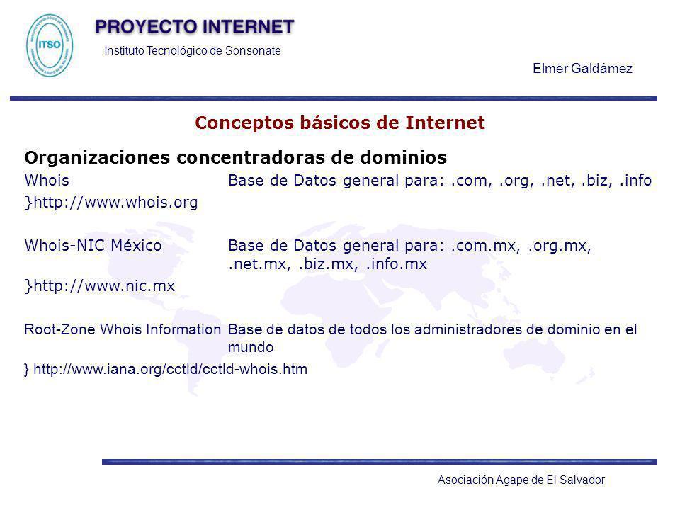 Instituto Tecnológico de Sonsonate Elmer Galdámez Asociación Agape de El Salvador Conceptos básicos de Internet Organizaciones concentradoras de domin