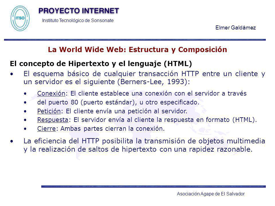 Instituto Tecnológico de Sonsonate Elmer Galdámez Asociación Agape de El Salvador La World Wide Web: Estructura y Composición El concepto de Hipertext