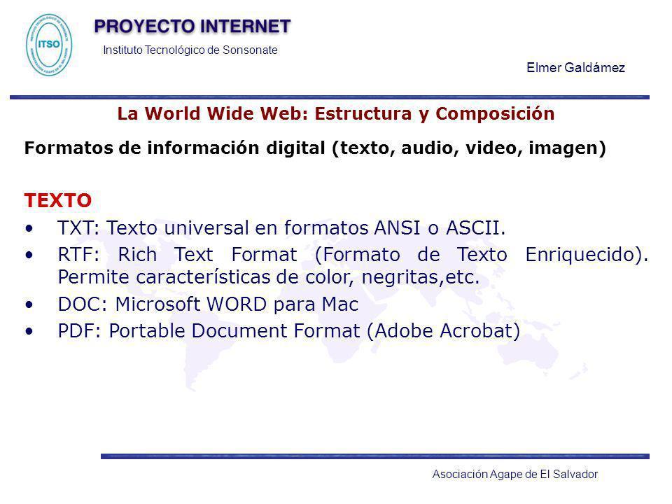 Instituto Tecnológico de Sonsonate Elmer Galdámez Asociación Agape de El Salvador La World Wide Web: Estructura y Composición Formatos de información