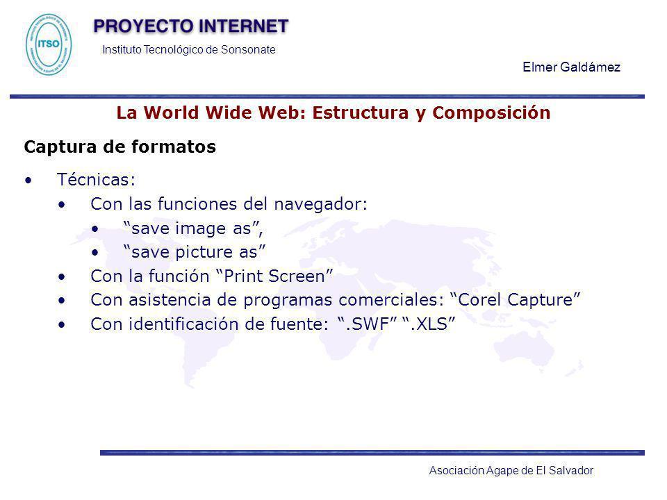 Instituto Tecnológico de Sonsonate Elmer Galdámez Asociación Agape de El Salvador La World Wide Web: Estructura y Composición Captura de formatos Técn