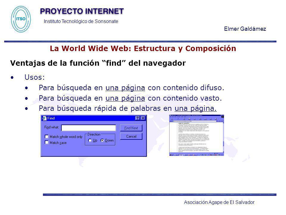 Instituto Tecnológico de Sonsonate Elmer Galdámez Asociación Agape de El Salvador La World Wide Web: Estructura y Composición Ventajas de la función f