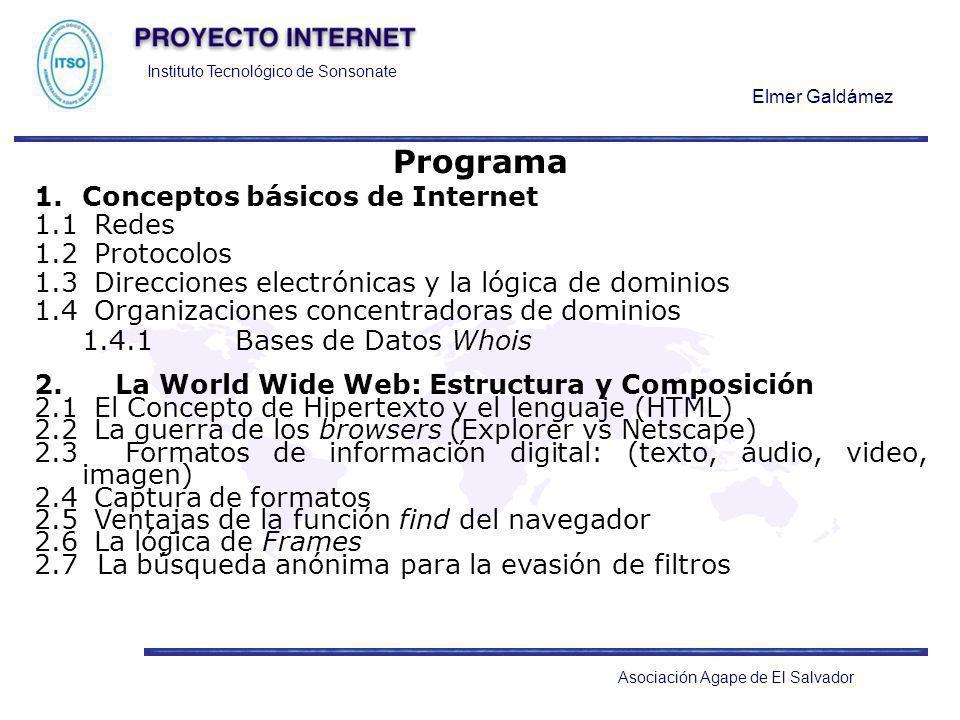 Instituto Tecnológico de Sonsonate Elmer Galdámez Asociación Agape de El Salvador Programa 1.Conceptos básicos de Internet 1.1 Redes 1.2 Protocolos 1.