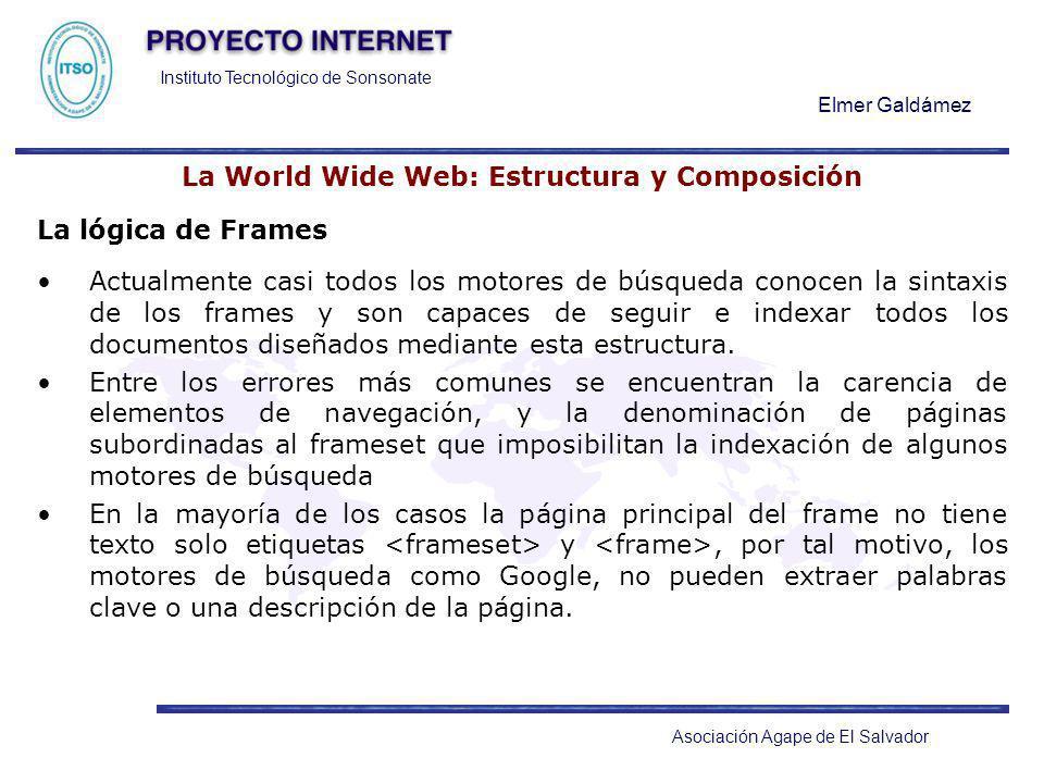 Instituto Tecnológico de Sonsonate Elmer Galdámez Asociación Agape de El Salvador La World Wide Web: Estructura y Composición La lógica de Frames Actu