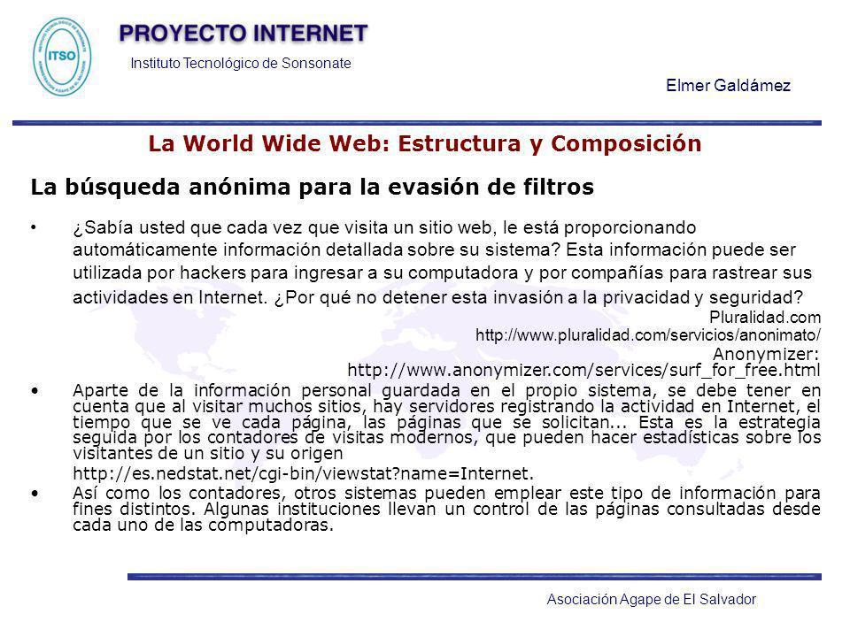 Instituto Tecnológico de Sonsonate Elmer Galdámez Asociación Agape de El Salvador La World Wide Web: Estructura y Composición La búsqueda anónima para