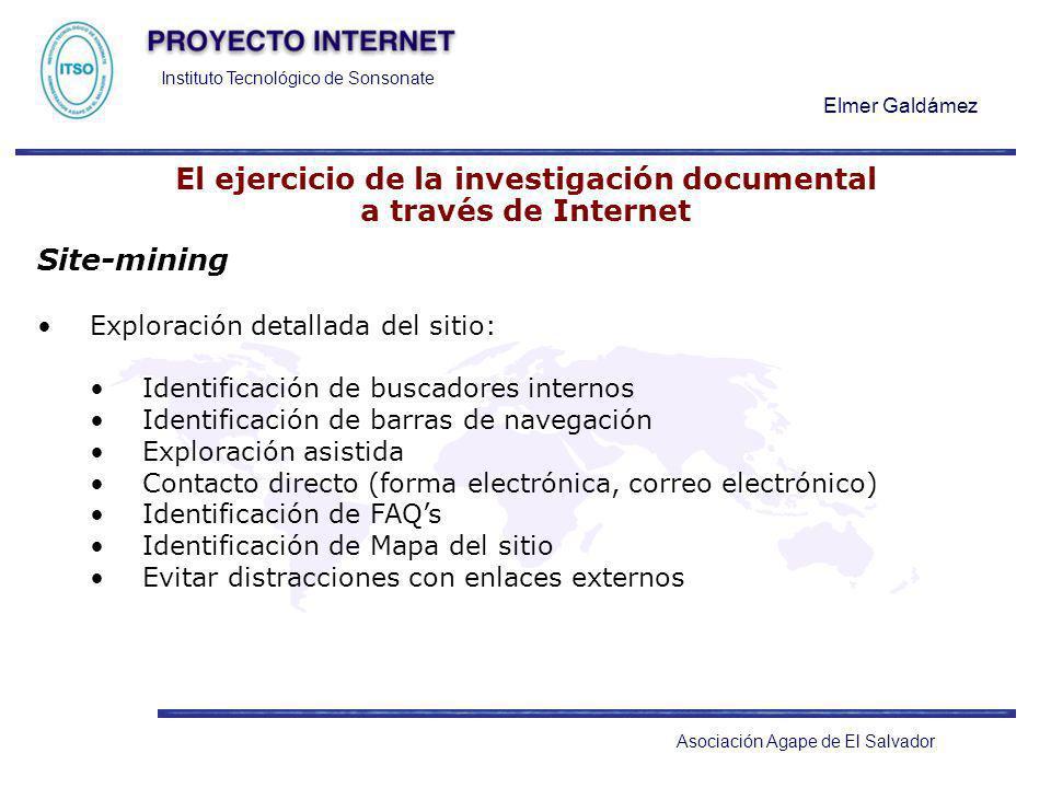 Instituto Tecnológico de Sonsonate Elmer Galdámez Asociación Agape de El Salvador El ejercicio de la investigación documental a través de Internet Sit