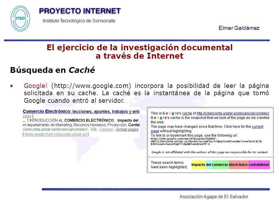 Instituto Tecnológico de Sonsonate Elmer Galdámez Asociación Agape de El Salvador El ejercicio de la investigación documental a través de Internet Bús