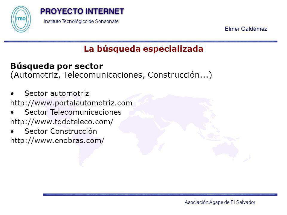 Instituto Tecnológico de Sonsonate Elmer Galdámez Asociación Agape de El Salvador La búsqueda especializada Búsqueda por sector (Automotriz, Telecomun