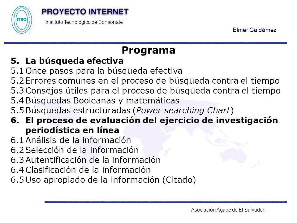 Instituto Tecnológico de Sonsonate Elmer Galdámez Asociación Agape de El Salvador Programa 5.La búsqueda efectiva 5.1Once pasos para la búsqueda efect