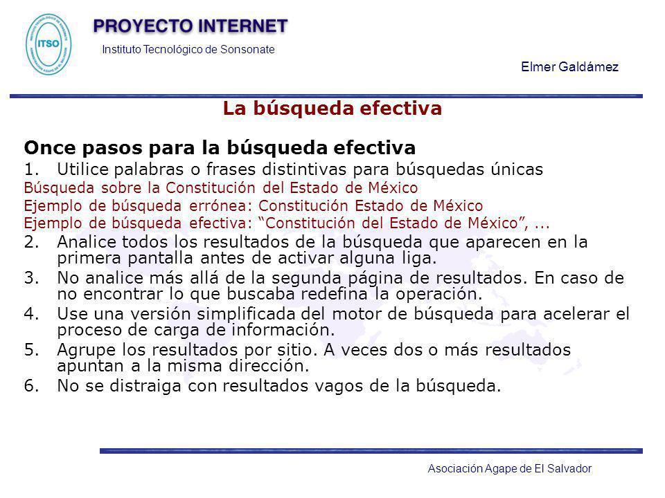 Instituto Tecnológico de Sonsonate Elmer Galdámez Asociación Agape de El Salvador La búsqueda efectiva Once pasos para la búsqueda efectiva 1.Utilice