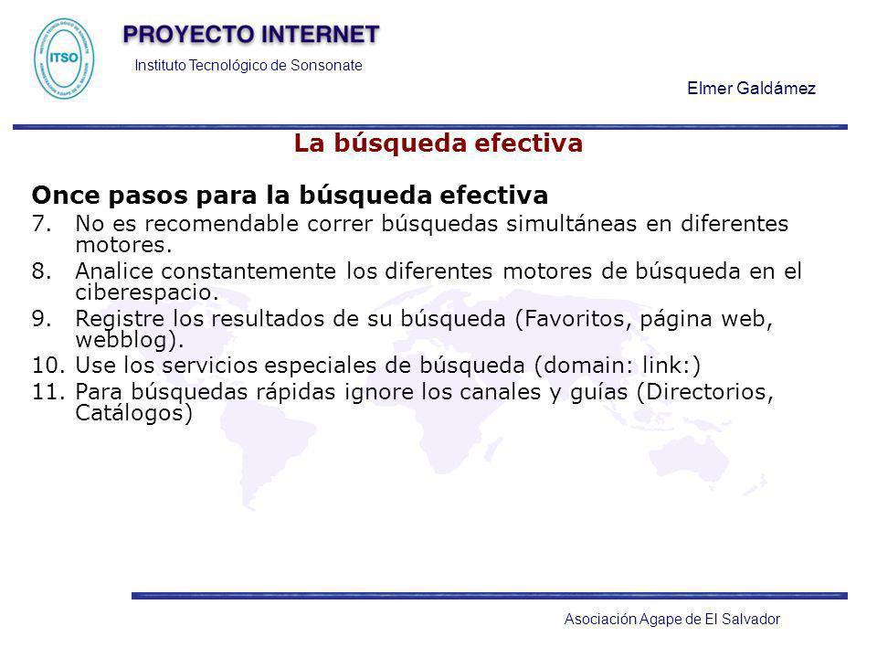 Instituto Tecnológico de Sonsonate Elmer Galdámez Asociación Agape de El Salvador La búsqueda efectiva Once pasos para la búsqueda efectiva 7.No es re