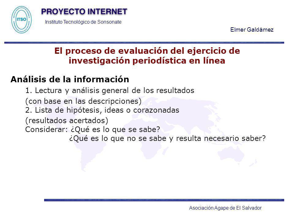 Instituto Tecnológico de Sonsonate Elmer Galdámez Asociación Agape de El Salvador El proceso de evaluación del ejercicio de investigación periodística