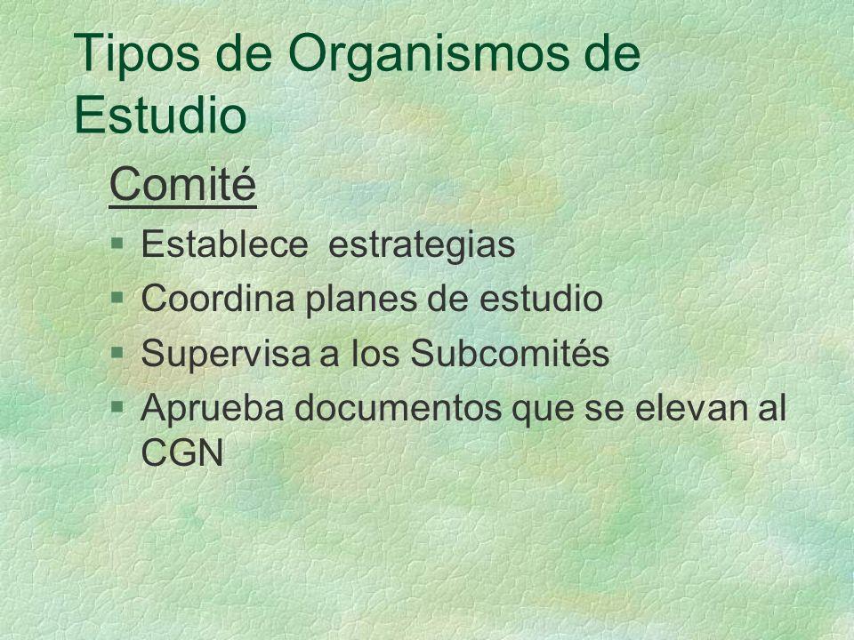Tipos de Organismos de Estudio Comité §Establece estrategias §Coordina planes de estudio §Supervisa a los Subcomités §Aprueba documentos que se elevan al CGN