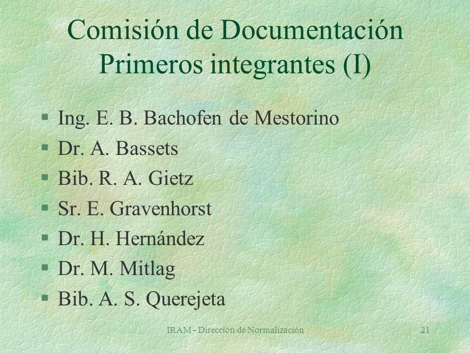 IRAM - Dirección de Normalización21 Comisión de Documentación Primeros integrantes (I) §Ing.
