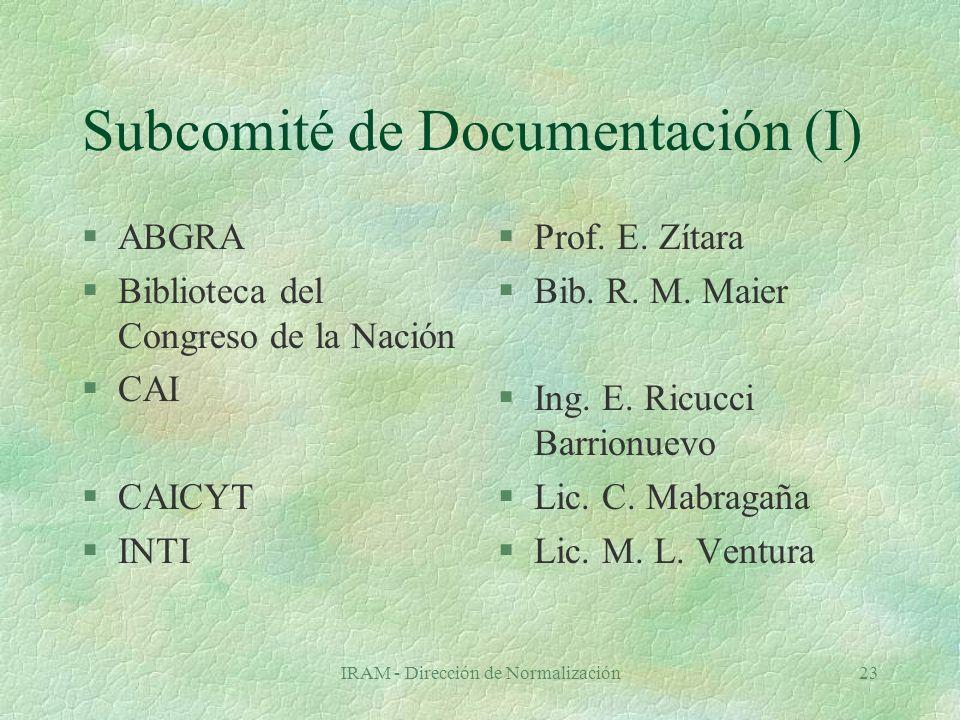 IRAM - Dirección de Normalización23 Subcomité de Documentación (I) §ABGRA §Biblioteca del Congreso de la Nación §CAI §CAICYT §INTI §Prof.