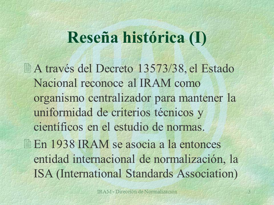 IRAM - Dirección de Normalización34 NORMA IRAM 32062 Definiciones (I) §Indicador de desempeño : Expresión numérica o verbal, derivada de estadísticas y datos de la biblioteca, utilizada para caracterizar su desempeño.