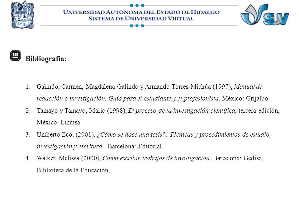 Bibliografía: 1.Galindo, Carmen, Magdalena Galindo y Armando Torres-Michúa (1997), Manual de redacción e investigación. Guía para el estudiante y el p