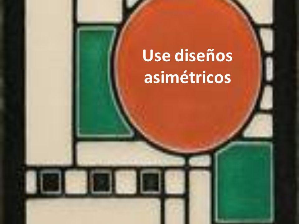 Los diseños asimétricos activan el espacio vacio, haciendo el diseño más interesante, menos formal y dinámico