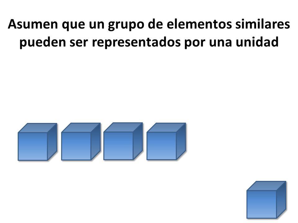 Asumen que un grupo de elementos similares pueden ser representados por una unidad