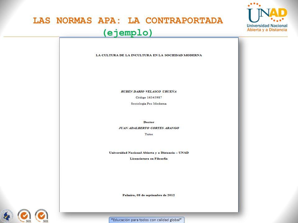 Educación para todos con calidad global LAS NORMAS APA: LA CONTRAPORTADA (ejemplo)