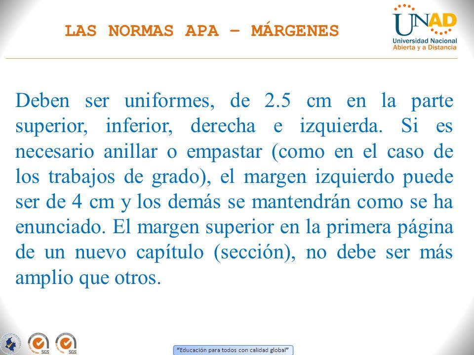 Educación para todos con calidad global LAS NORMAS APA CITAS DE REFERENCIA O CITA CONTEXTUAL 7.