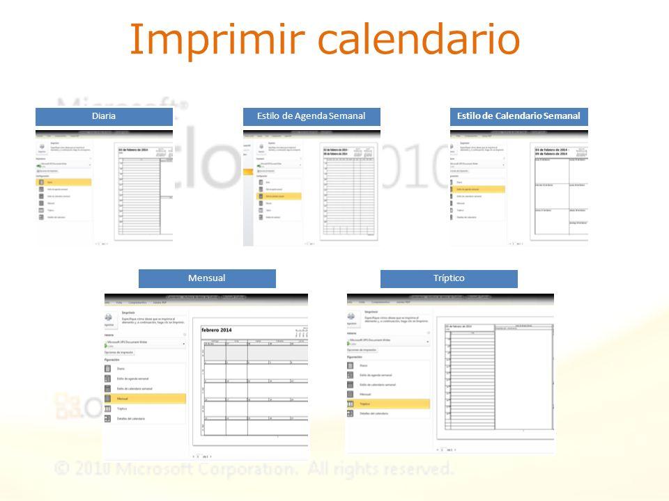 Imprimir calendario DiariaEstilo de Agenda SemanalEstilo de Calendario Semanal Mensual Tríptico
