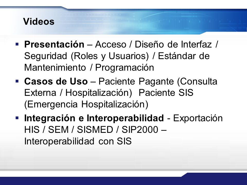 Videos Presentación – Acceso / Diseño de Interfaz / Seguridad (Roles y Usuarios) / Estándar de Mantenimiento / Programación Casos de Uso – Paciente Pa