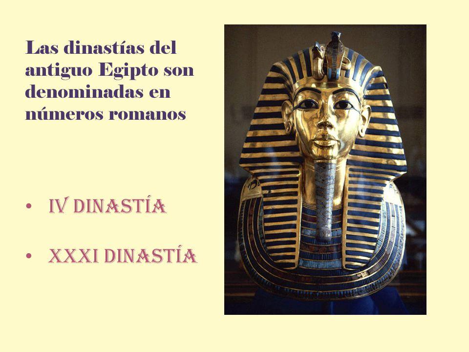 Las dinastías del antiguo Egipto son denominadas en números romanos Iv dinastía XXXI dinastía