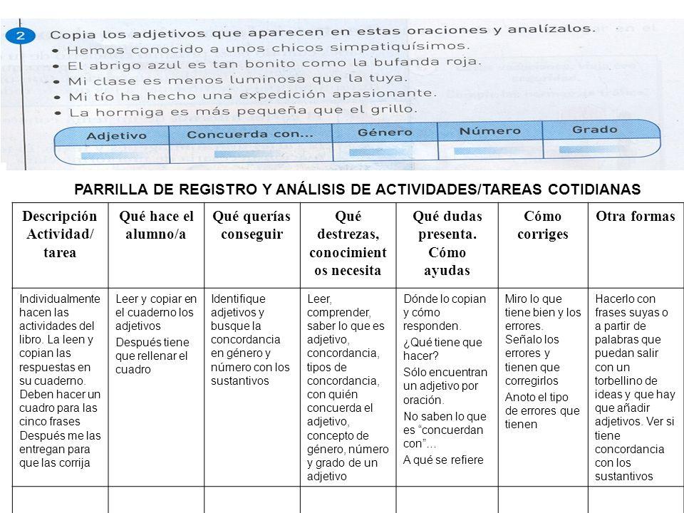 PARRILLA DE REGISTRO Y ANÁLISIS DE ACTIVIDADES/TAREAS COTIDIANAS Descripción Actividad/ tarea Qué hace el alumno/a Qué querías conseguir Qué destrezas