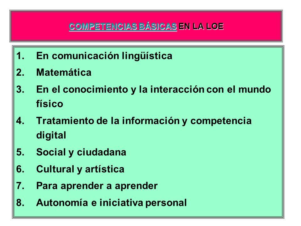 COMPETENCIAS BÁSICASCOMPETENCIAS BÁSICAS EN LA LOE COMPETENCIAS BÁSICAS 1.En comunicación lingüística 2.Matemática 3.En el conocimiento y la interacci