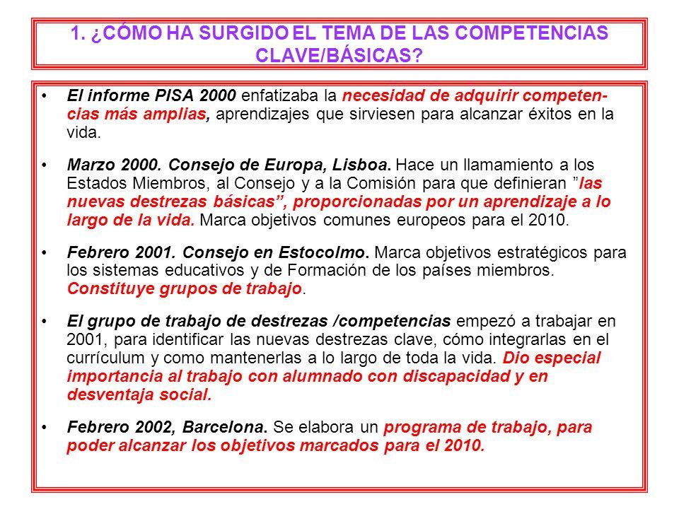 1. ¿CÓMO HA SURGIDO EL TEMA DE LAS COMPETENCIAS CLAVE/BÁSICAS? El informe PISA 2000 enfatizaba la necesidad de adquirir competen- cias más amplias, ap
