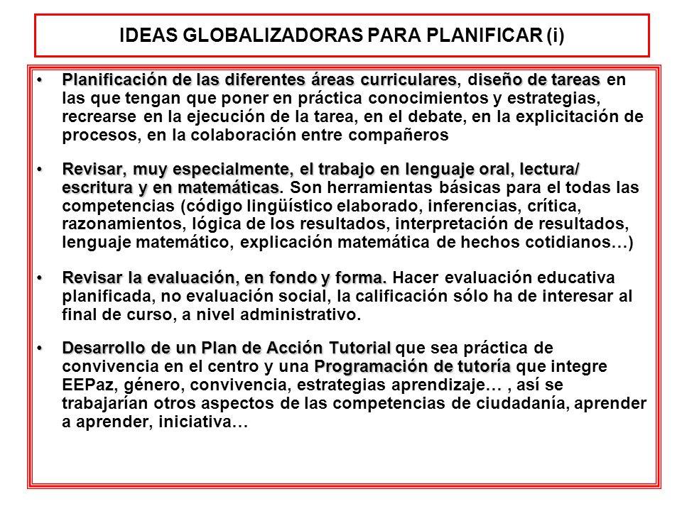 IDEAS GLOBALIZADORAS PARA PLANIFICAR (i) Planificación de las diferentes áreas curricularesiseño de tareasPlanificación de las diferentes áreas curric