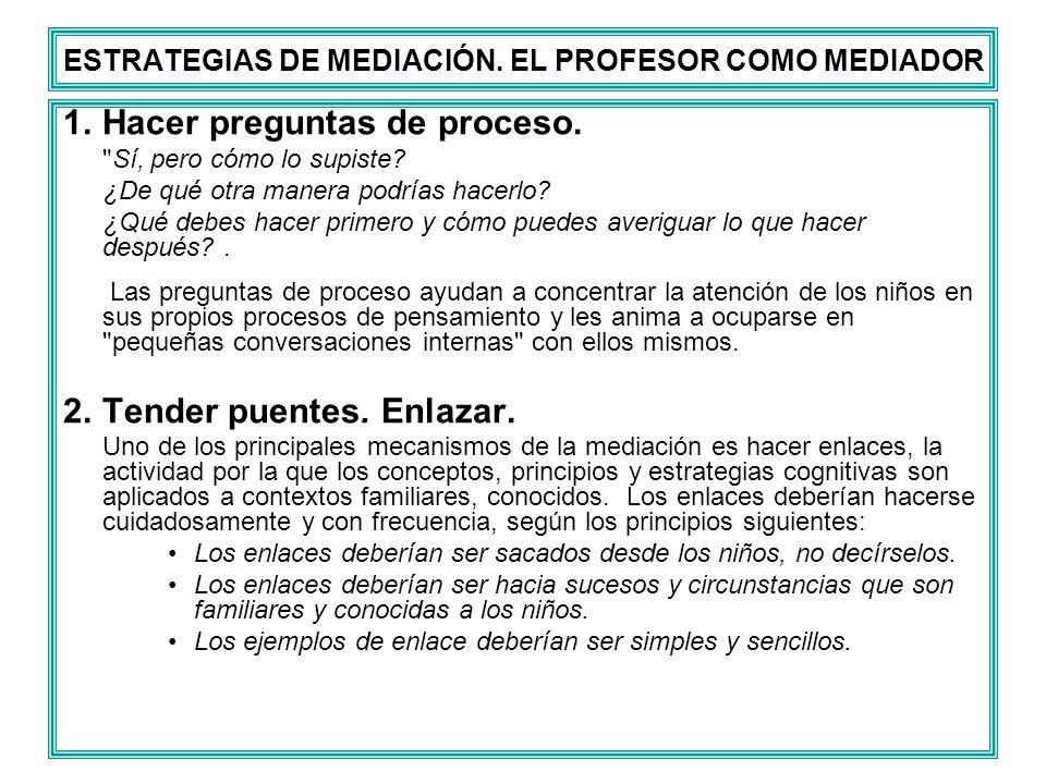 ESTRATEGIAS DE MEDIACIÓN. EL PROFESOR COMO MEDIADOR 1.Hacer preguntas de proceso.