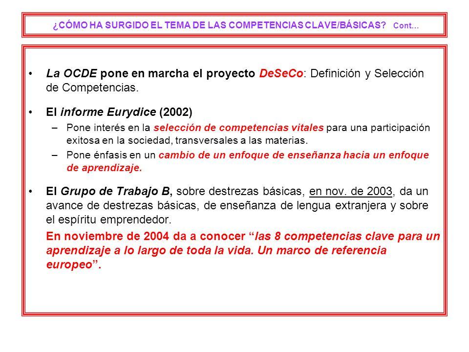 ¿CÓMO HA SURGIDO EL TEMA DE LAS COMPETENCIAS CLAVE/BÁSICAS? Cont… La OCDE pone en marcha el proyecto DeSeCo: Definición y Selección de Competencias. E