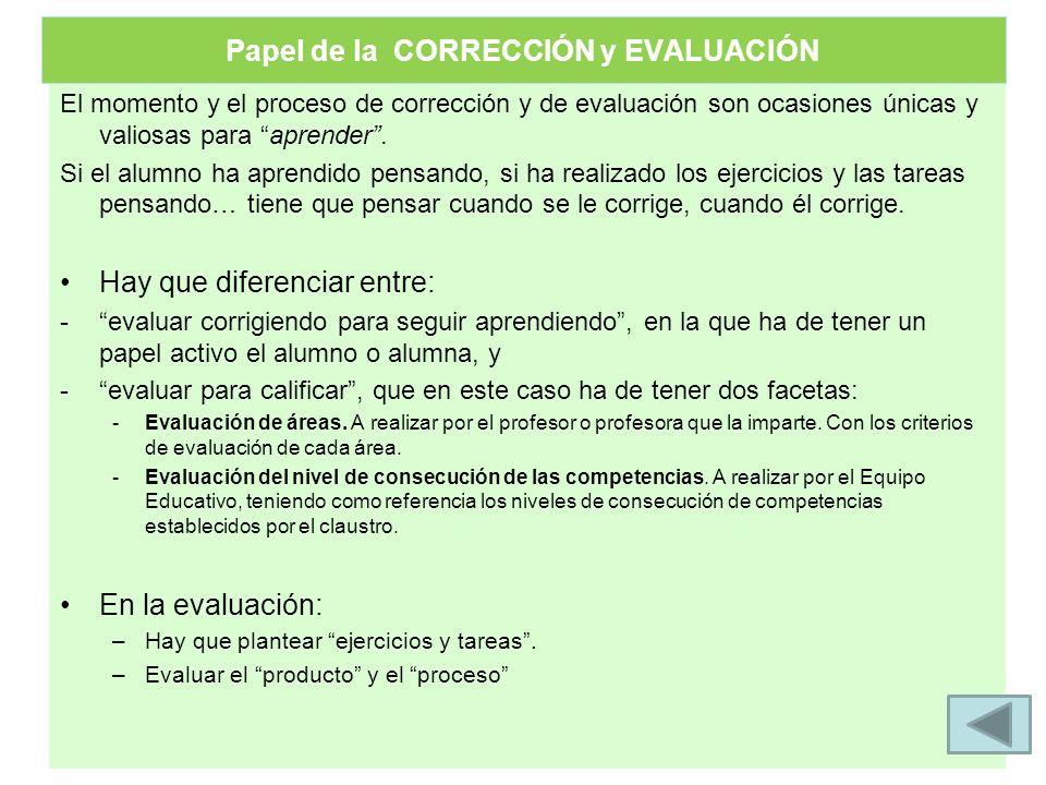 El momento y el proceso de corrección y de evaluación son ocasiones únicas y valiosas para aprender. Si el alumno ha aprendido pensando, si ha realiza