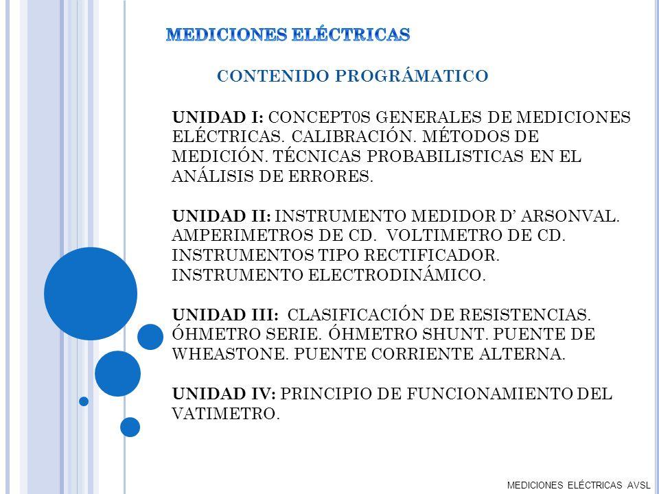 MEDICIONES ELÉCTRICAS AVSL CONTENIDO PROGRÁMATICO UNIDAD I: CONCEPT0S GENERALES DE MEDICIONES ELÉCTRICAS. CALIBRACIÓN. MÉTODOS DE MEDICIÓN. TÉCNICAS P