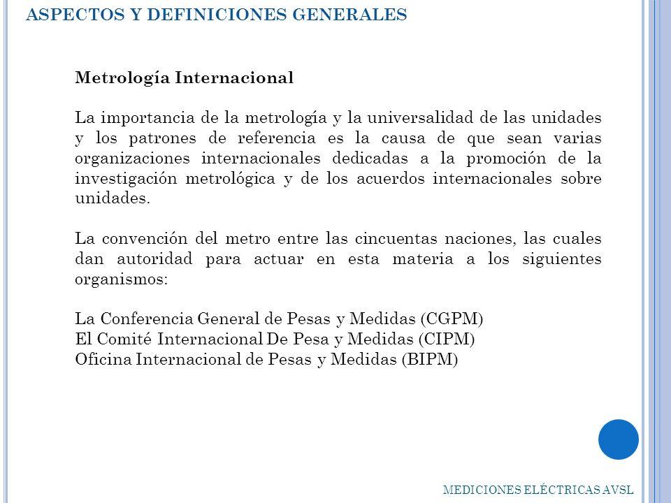 ASPECTOS Y DEFINICIONES GENERALES MEDICIONES ELÉCTRICAS AVSL Metrología Internacional La importancia de la metrología y la universalidad de las unidad