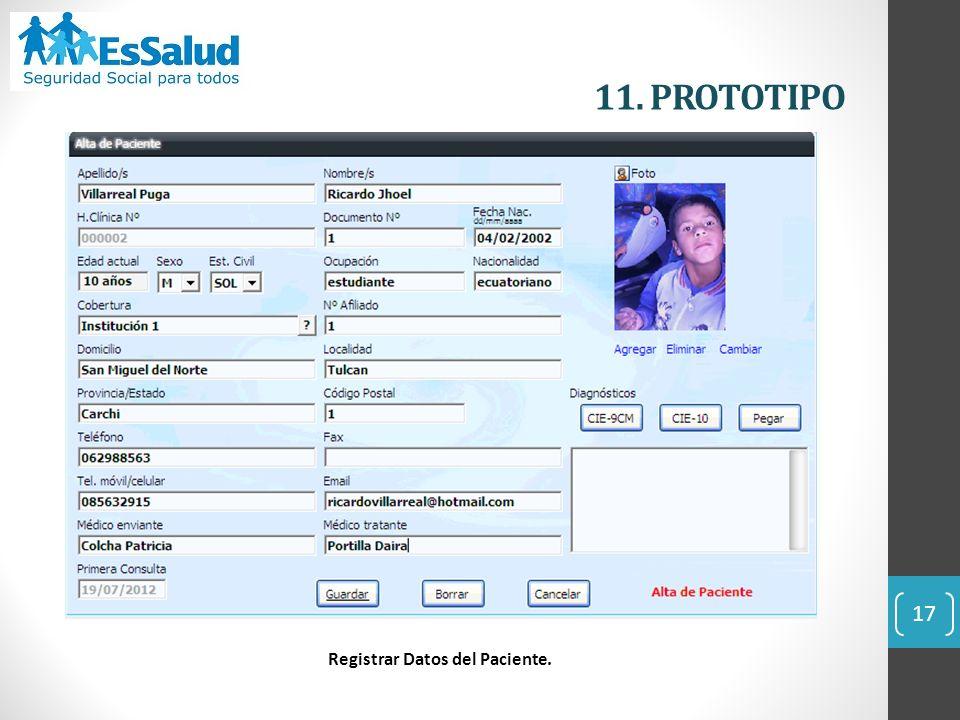 17 11. PROTOTIPO Registrar Datos del Paciente.