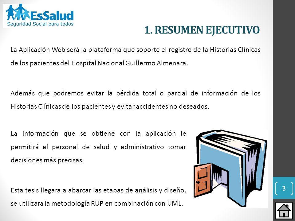 3 1. RESUMEN EJECUTIVO La Aplicación Web será la plataforma que soporte el registro de la Historias Clínicas de los pacientes del Hospital Nacional Gu