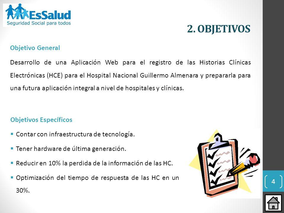 4 2. OBJETIVOS Objetivo General Desarrollo de una Aplicación Web para el registro de las Historias Clínicas Electrónicas (HCE) para el Hospital Nacion