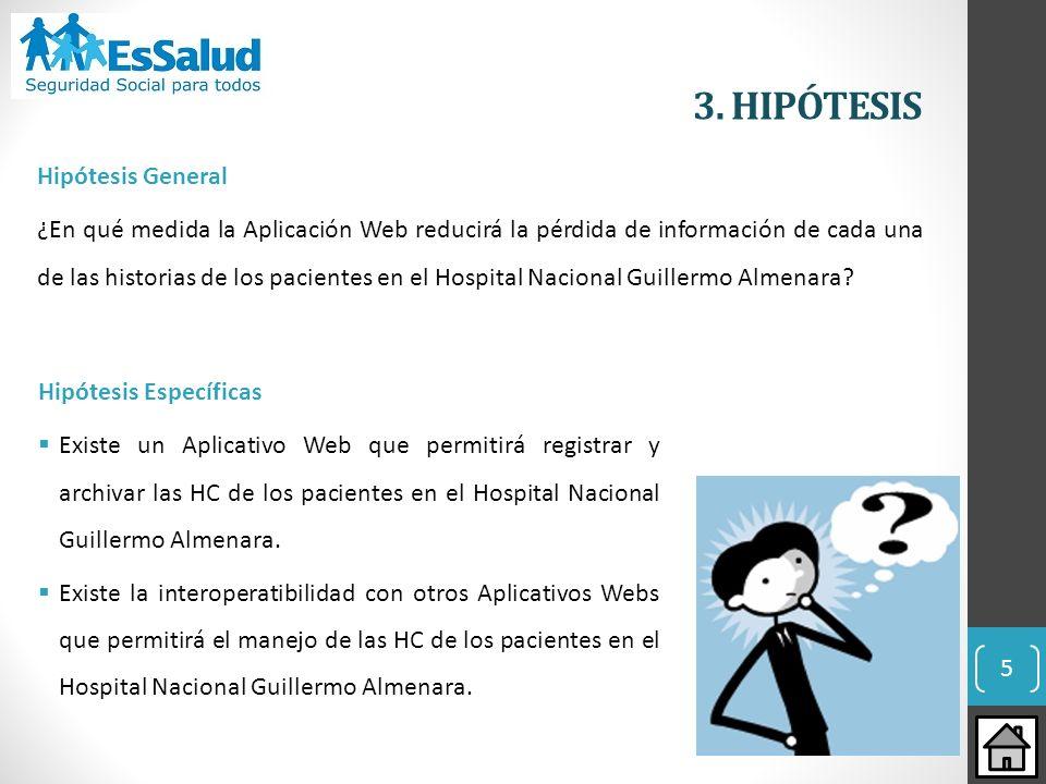 5 3. HIPÓTESIS Hipótesis General ¿En qué medida la Aplicación Web reducirá la pérdida de información de cada una de las historias de los pacientes en