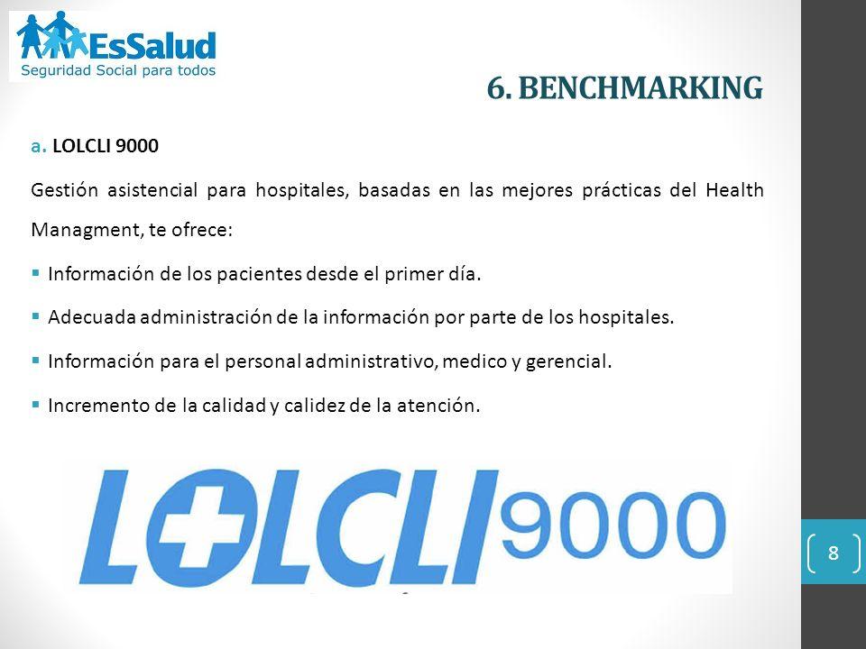 6. BENCHMARKING a. LOLCLI 9000 Gestión asistencial para hospitales, basadas en las mejores prácticas del Health Managment, te ofrece: Información de l