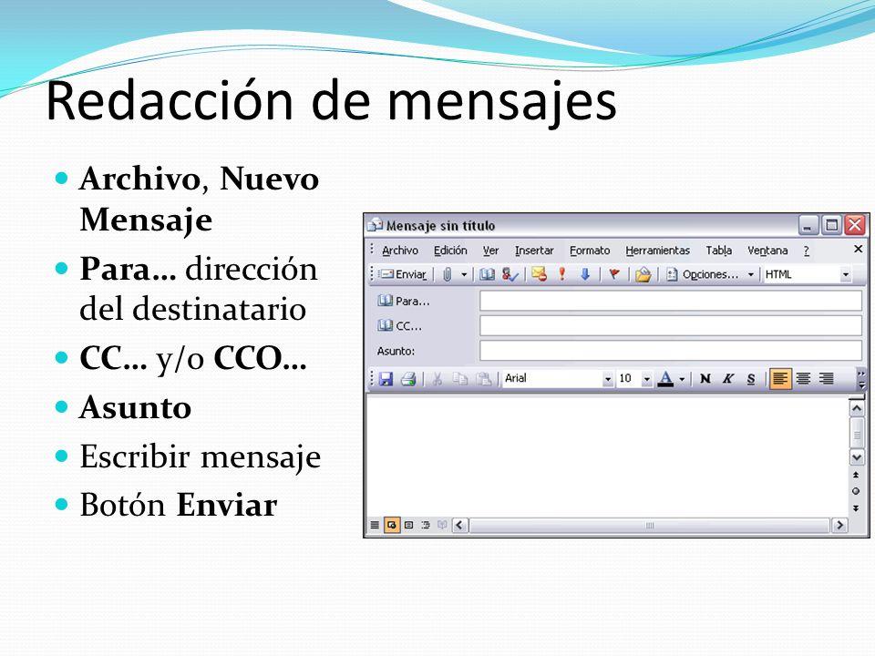 Redacción de mensajes Archivo, Nuevo Mensaje Para… dirección del destinatario CC… y/o CCO… Asunto Escribir mensaje Botón Enviar