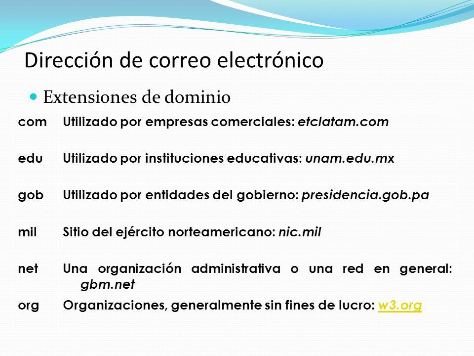 Dirección de correo electrónico Extensiones de dominio com Utilizado por empresas comerciales: etclatam.com edu Utilizado por instituciones educativas