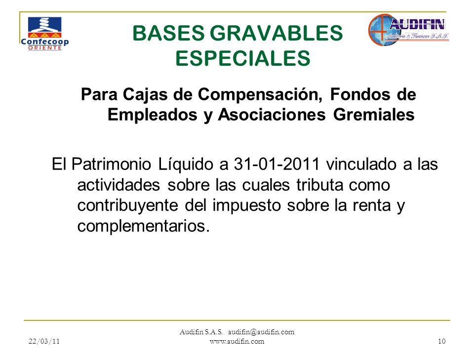 22/03/11 Audifin S.A.S. audifin@audifin.com www.audifin.com 10 BASES GRAVABLES ESPECIALES Para Cajas de Compensación, Fondos de Empleados y Asociacion