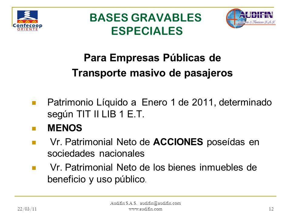 22/03/11 Audifin S.A.S. audifin@audifin.com www.audifin.com 12 BASES GRAVABLES ESPECIALES Para Empresas Públicas de Transporte masivo de pasajeros Pat