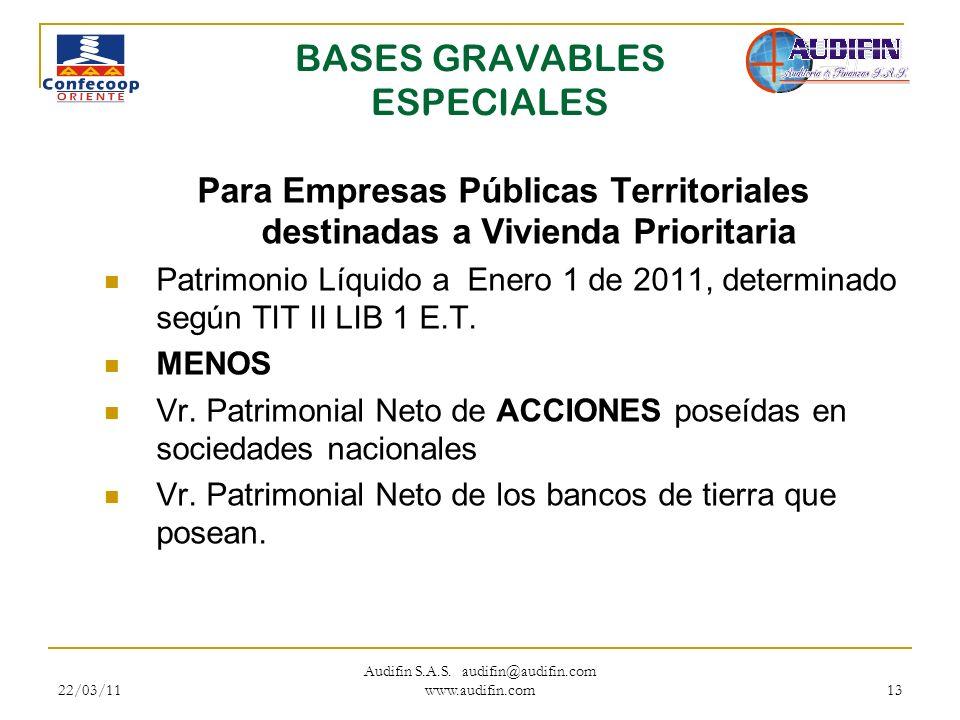 22/03/11 Audifin S.A.S. audifin@audifin.com www.audifin.com 13 BASES GRAVABLES ESPECIALES Para Empresas Públicas Territoriales destinadas a Vivienda P